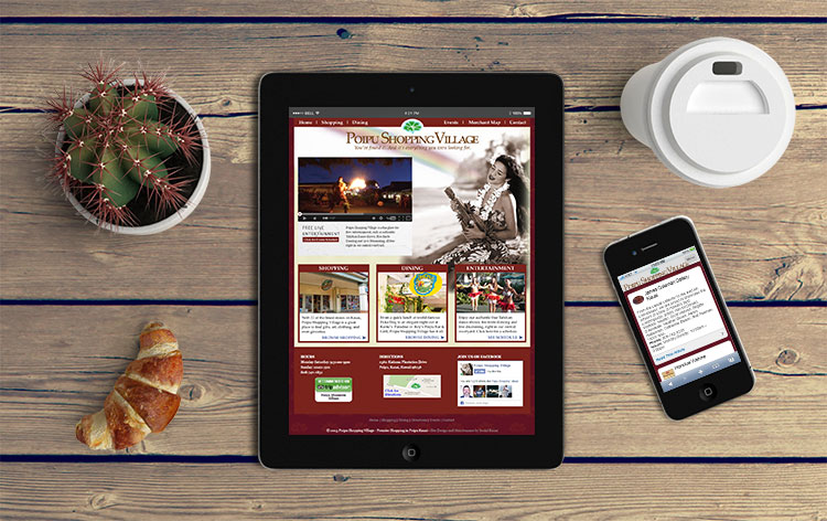 Poipu Shopping Village Website Mockup